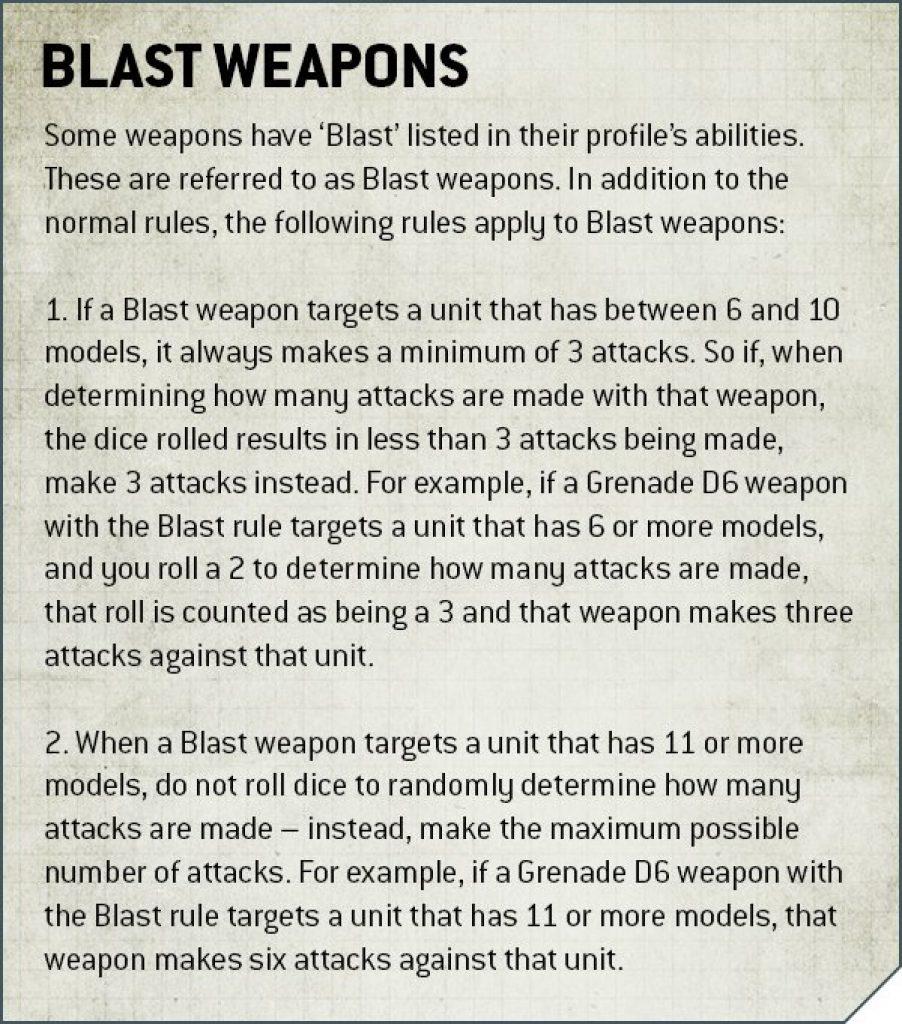Blast Rule Warhammer 40K v9