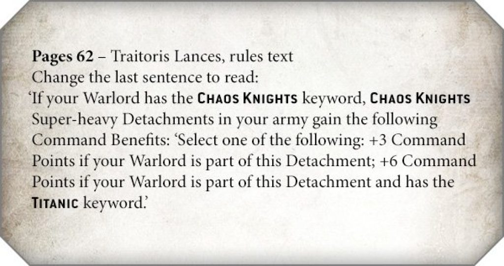 Chaos Knights Rules