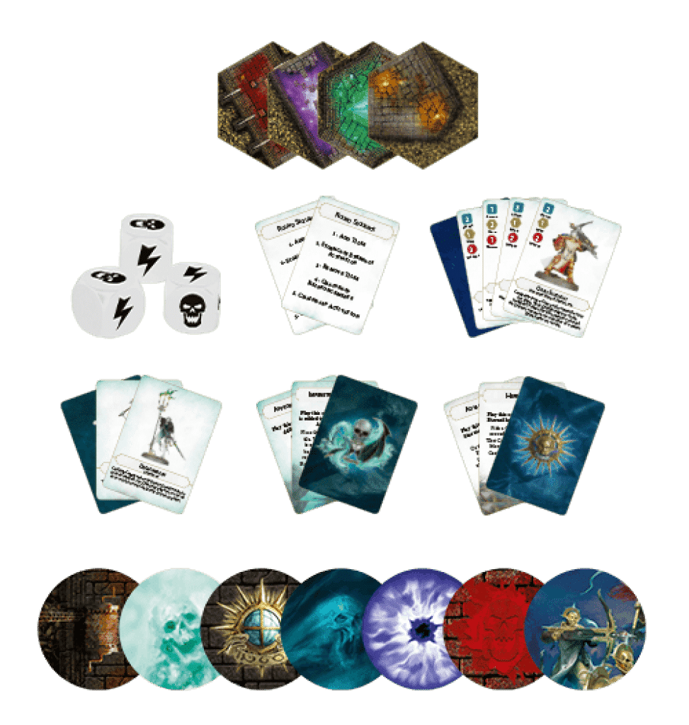 AoS Crypt Hunters cards and dices