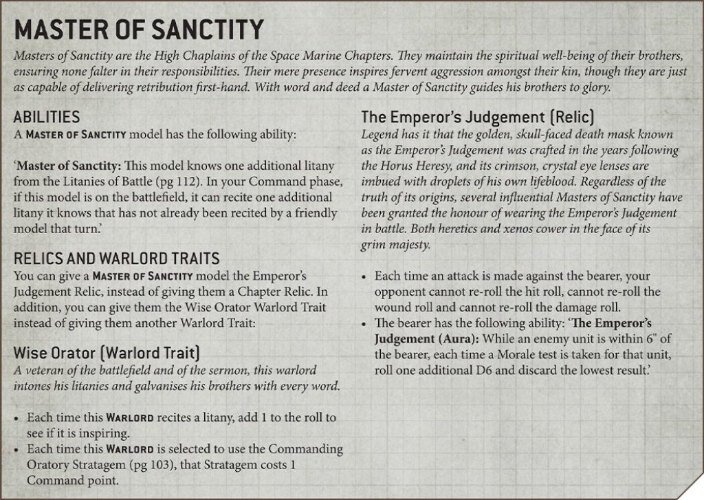 Master of Sanctity Rules Primaris Chaplain
