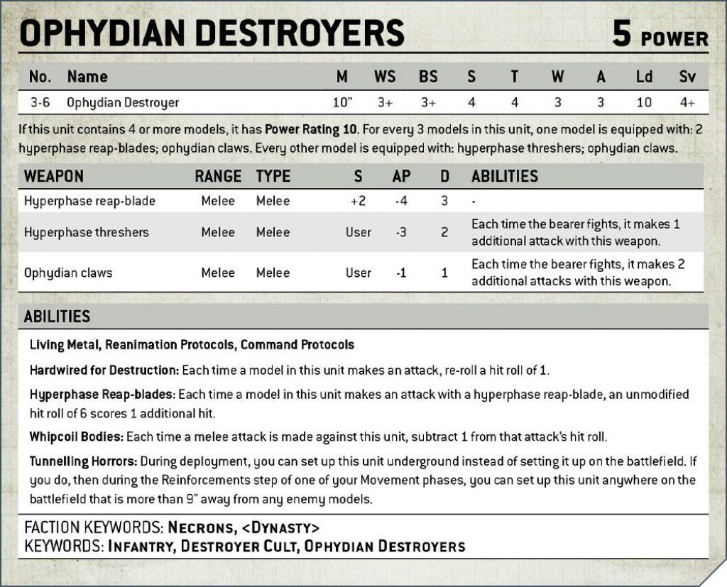 Ophydian Destroyer Rules