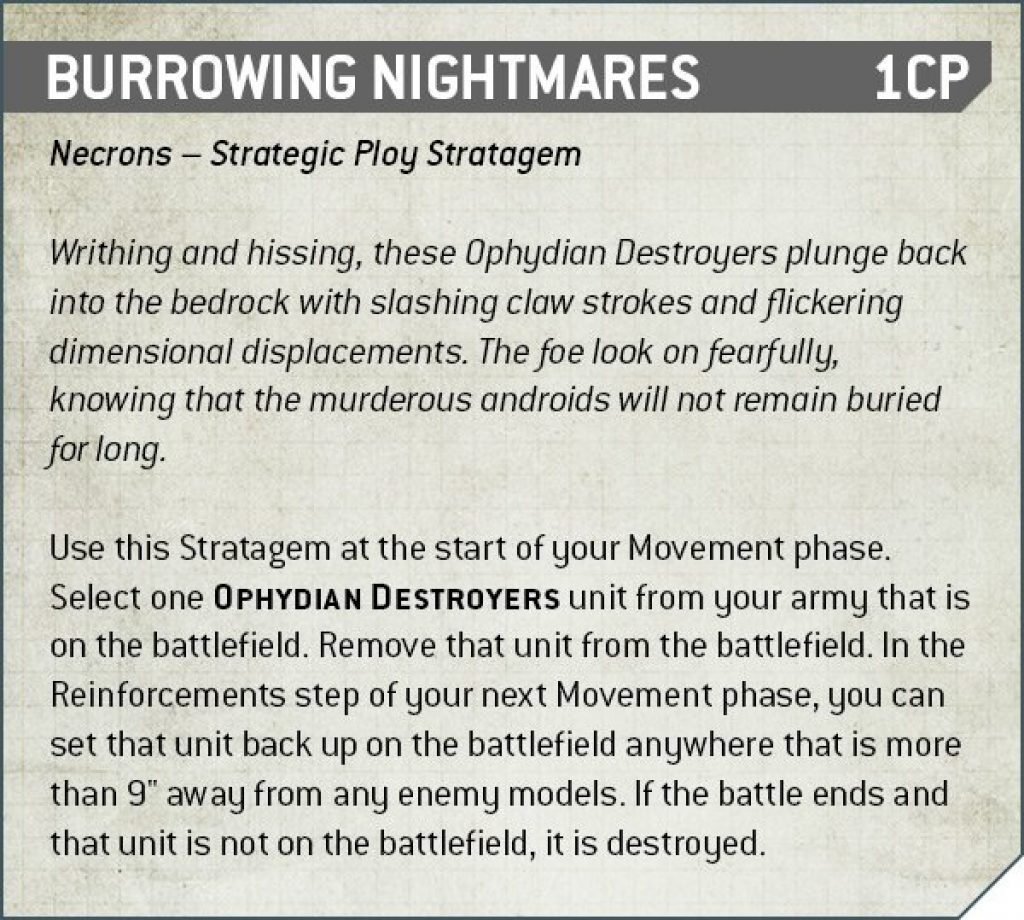 Burrowing Nightmares Rules Nécron