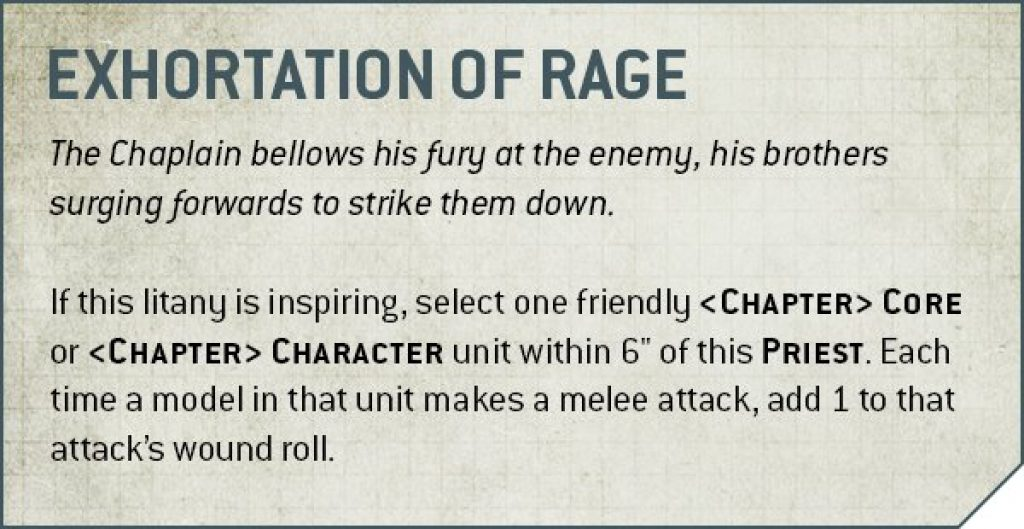 Chaplain  exhortation of rage rules