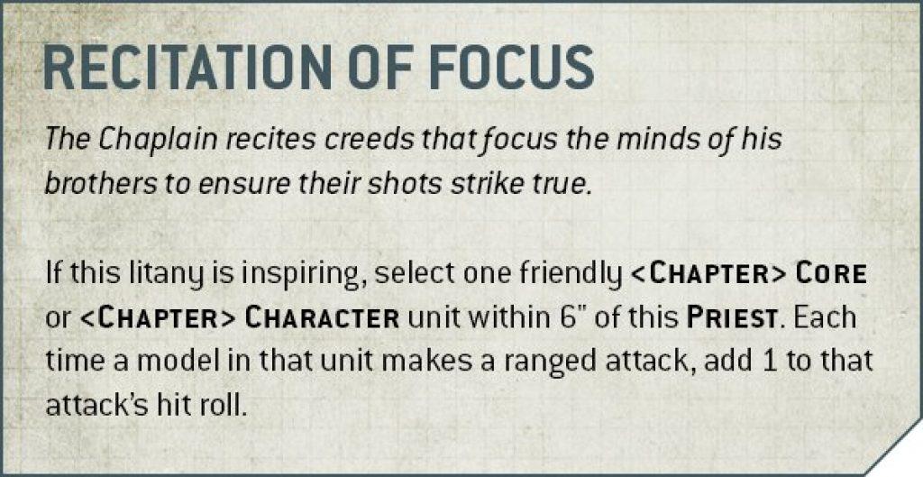 Chaplain recitation of focus rules