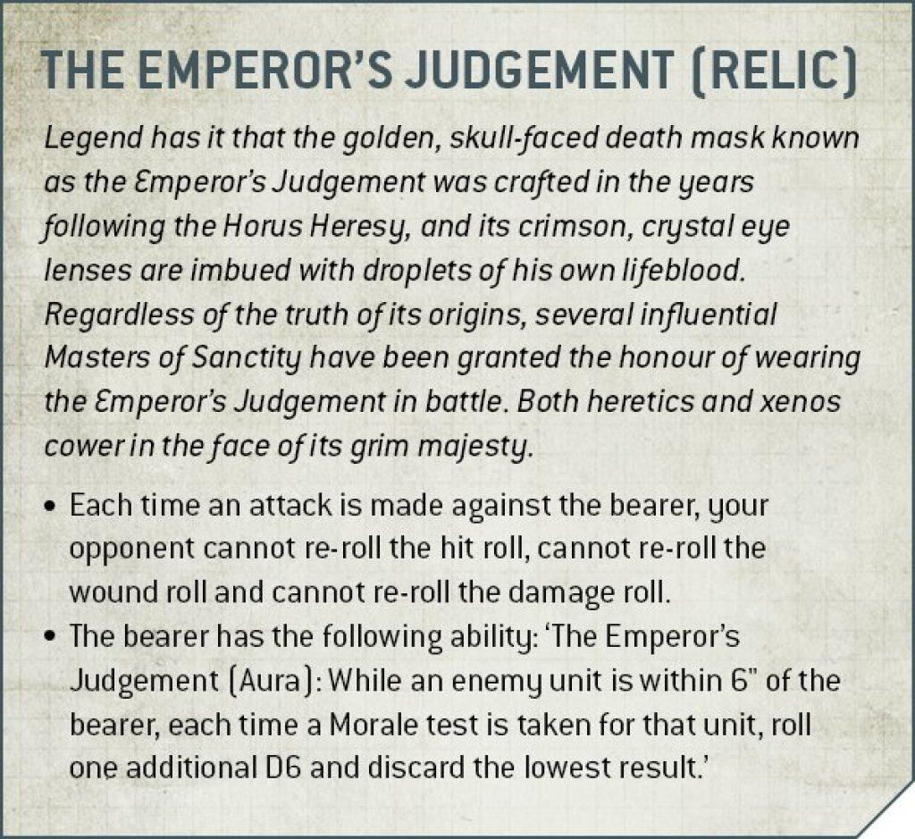 chaplain the emperor's Judgement rules
