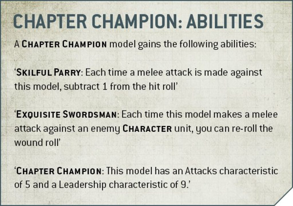 chapter champion abilities rules