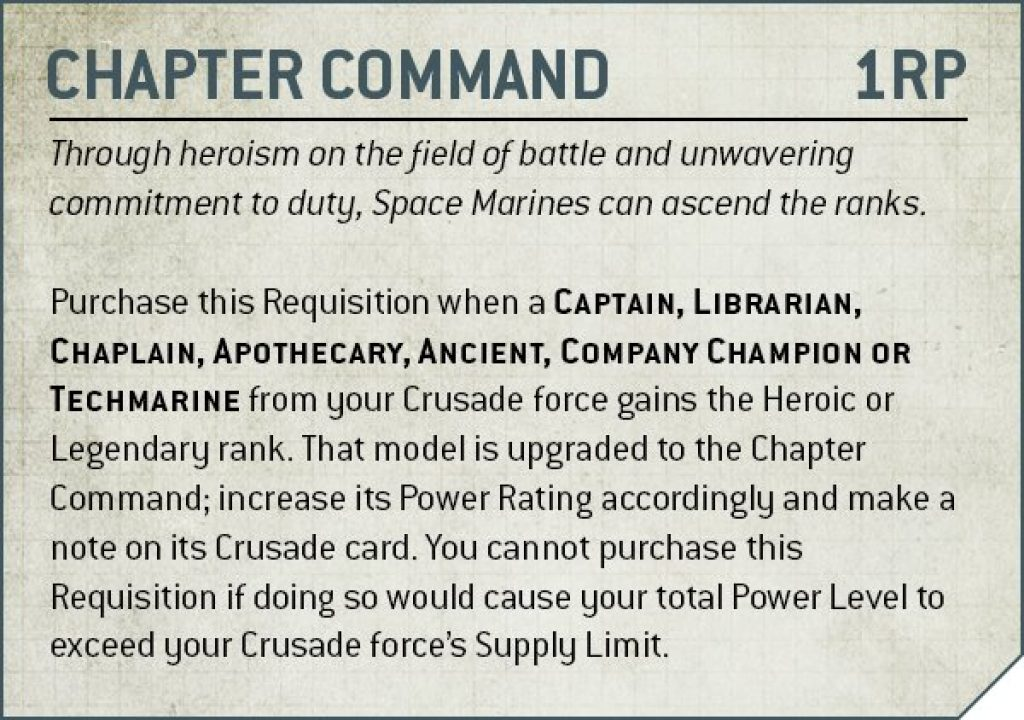 chapter command crusad rules