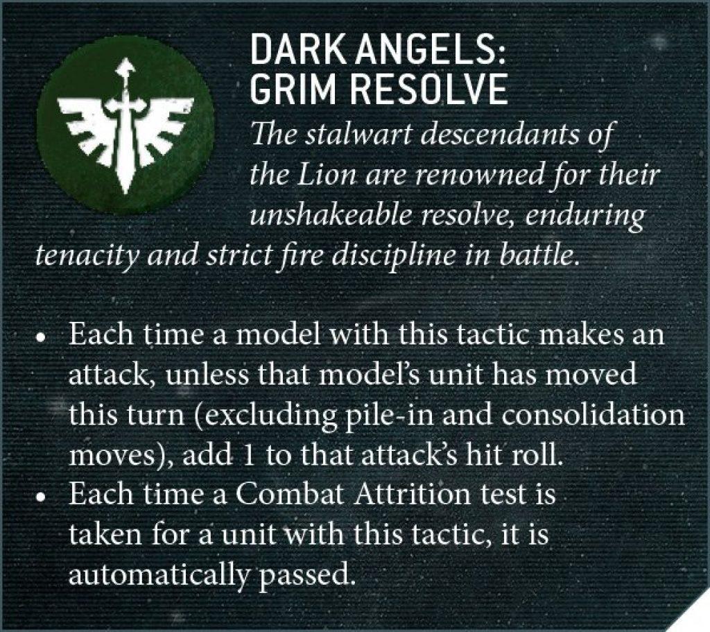 Dark Angel Grim Resolve rules
