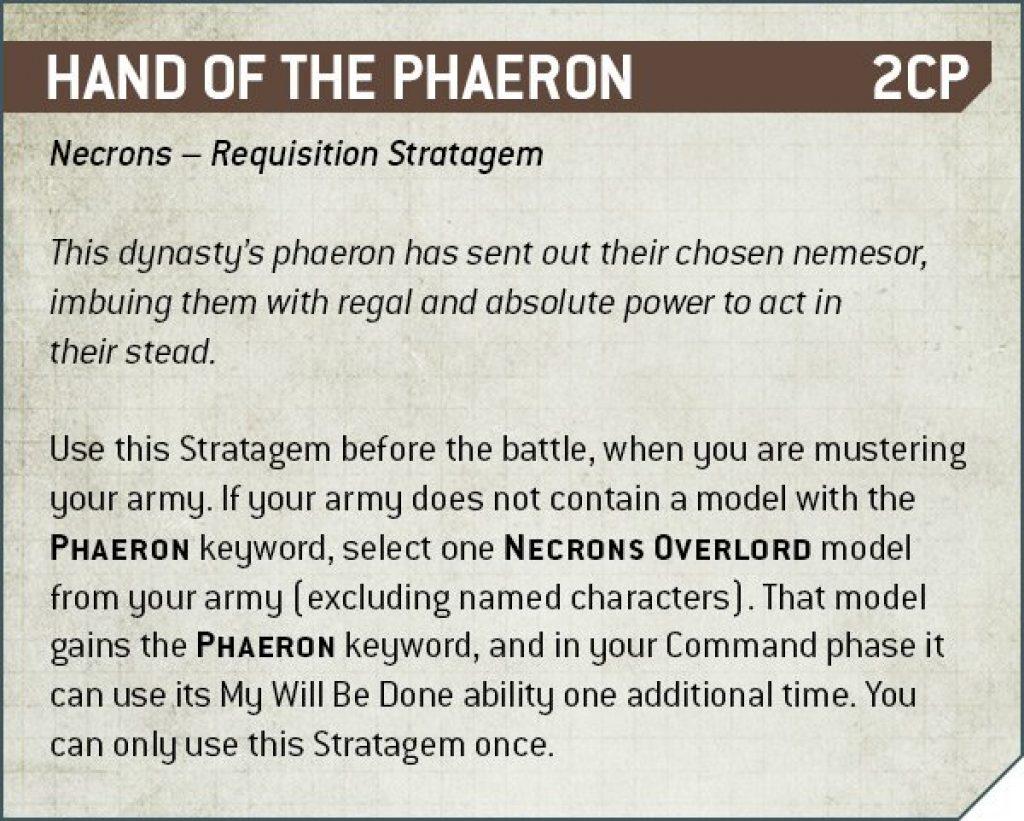 Hand of the Phaeron Rules Nécron