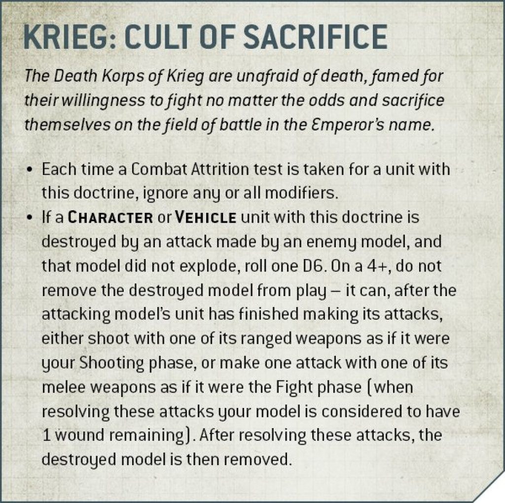 Krieg Cult of Sacrifice rules