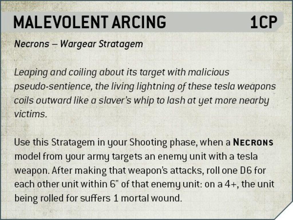 Malevolent arcing Rules Nécron
