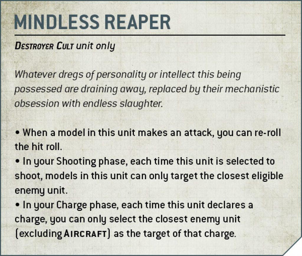 Mindless Reaper Rules Nécron