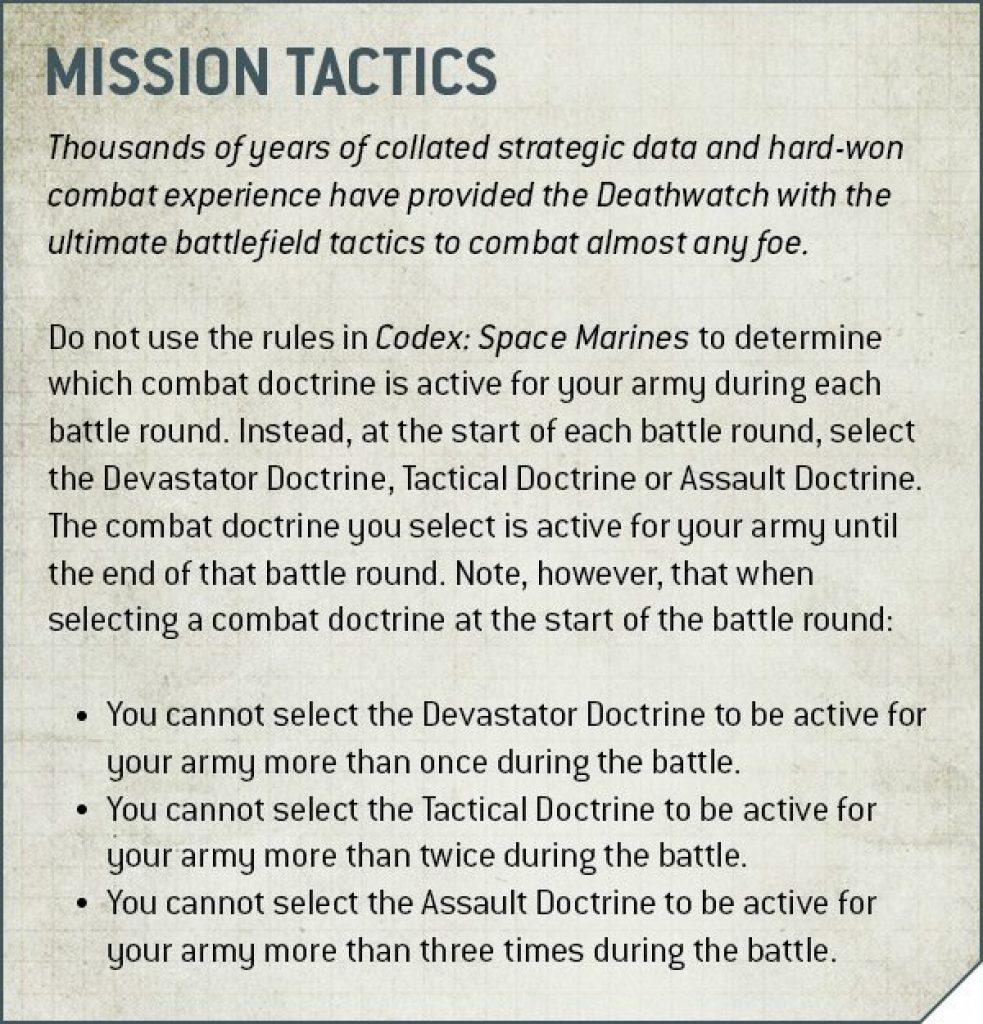 Deathwatch Mission Tactics Rules
