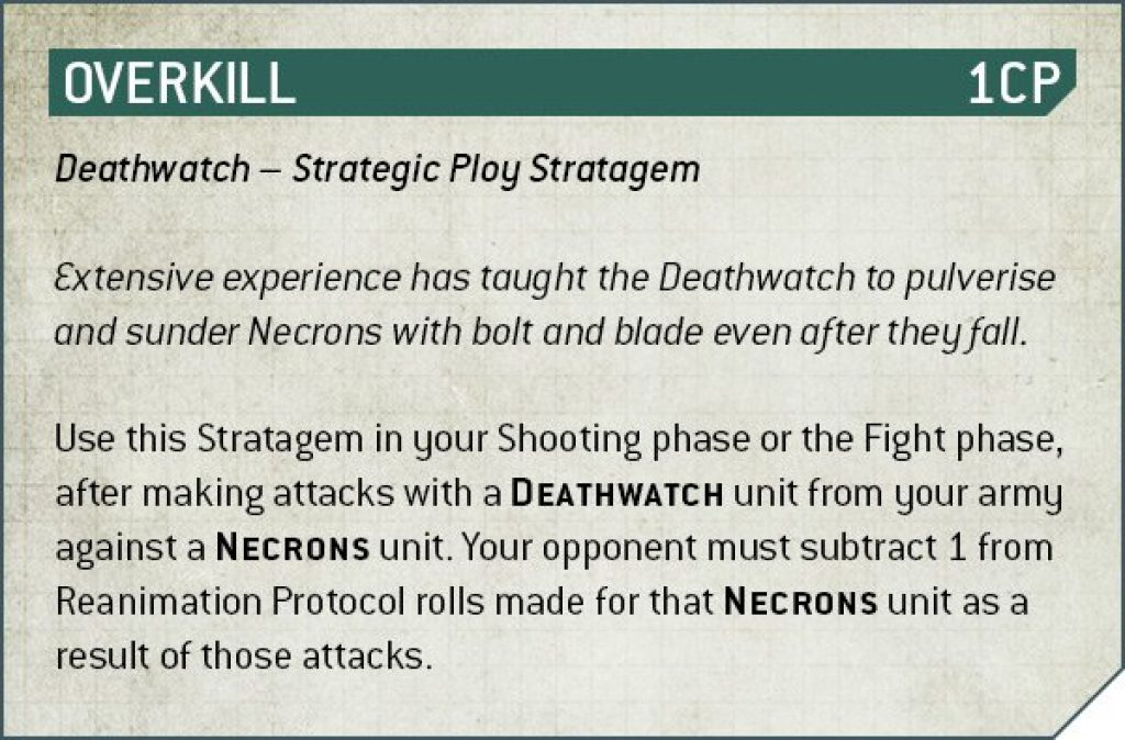 Deathwatch overkill rules