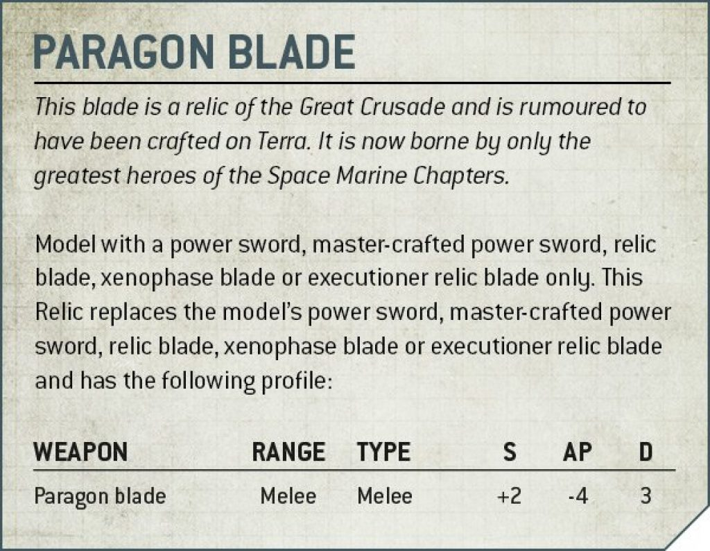 Paragon Blade rules