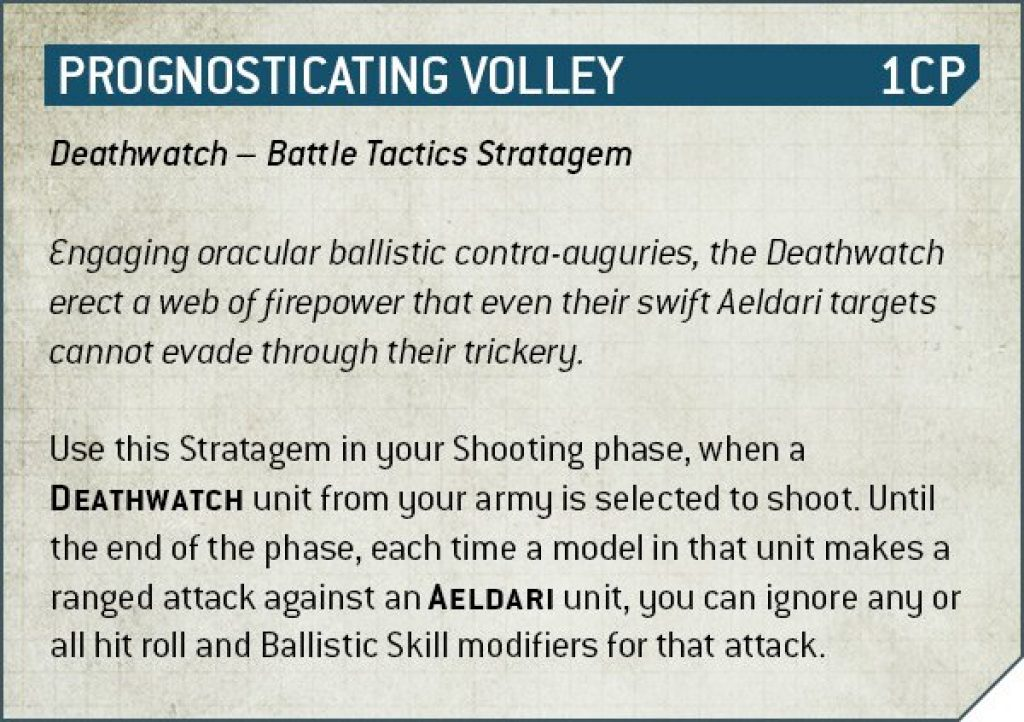 Prognosticating volley Deathwatch Rules