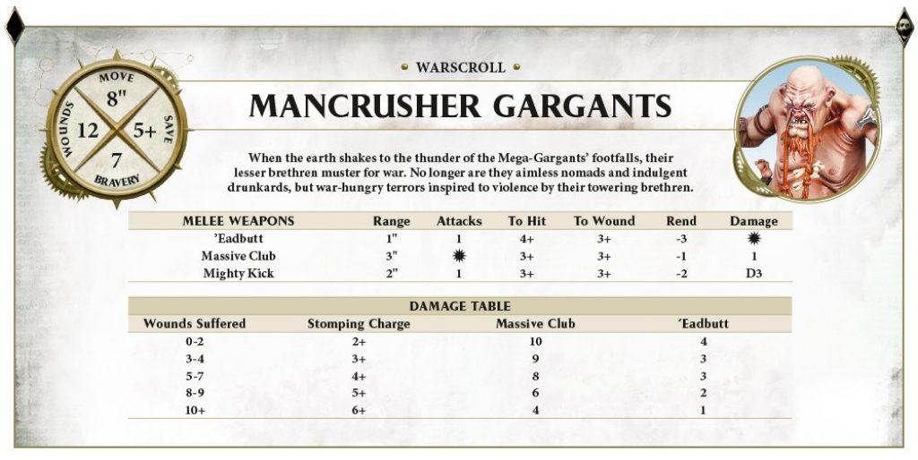 Mancrusher Gargant Characteristics
