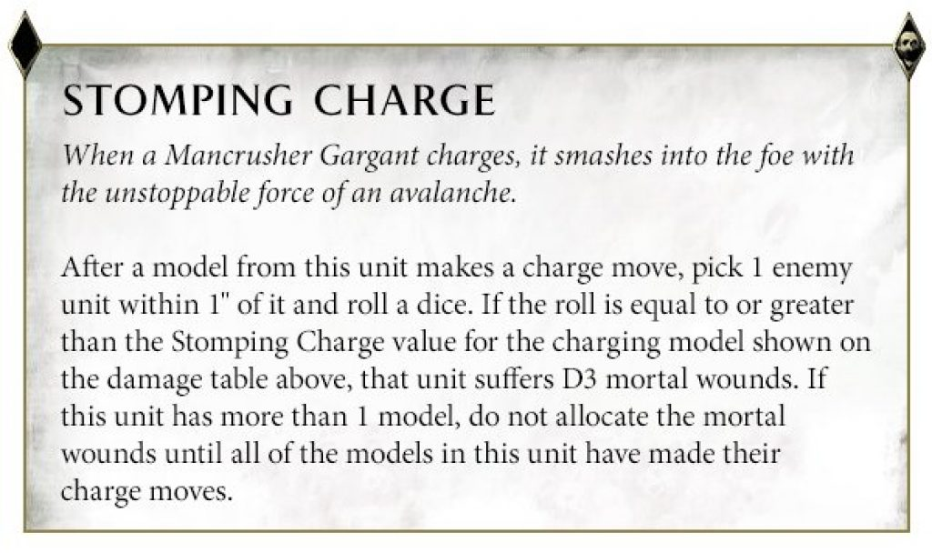 Gargant Stomping Charge Rules