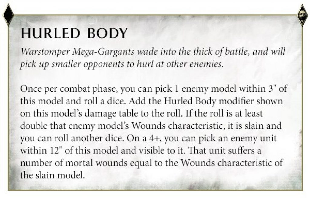 Hurled Body Warstomper Rules