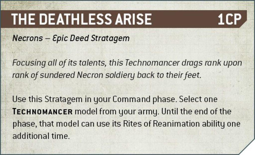 The Deathless Arise Rules Nécron