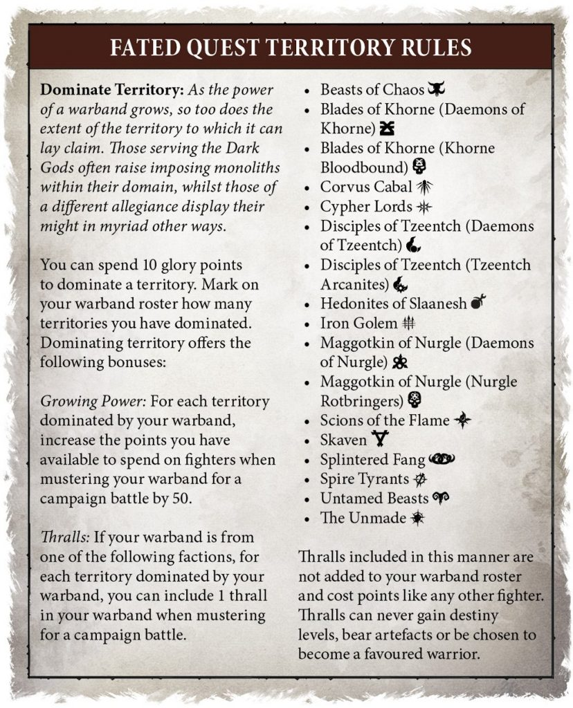 fated quest territory rules warcry catacombs