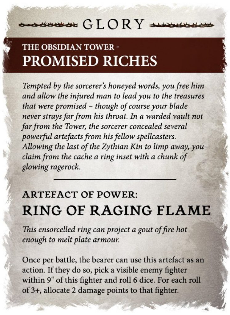 Obsidian tower promised riches rules warcry