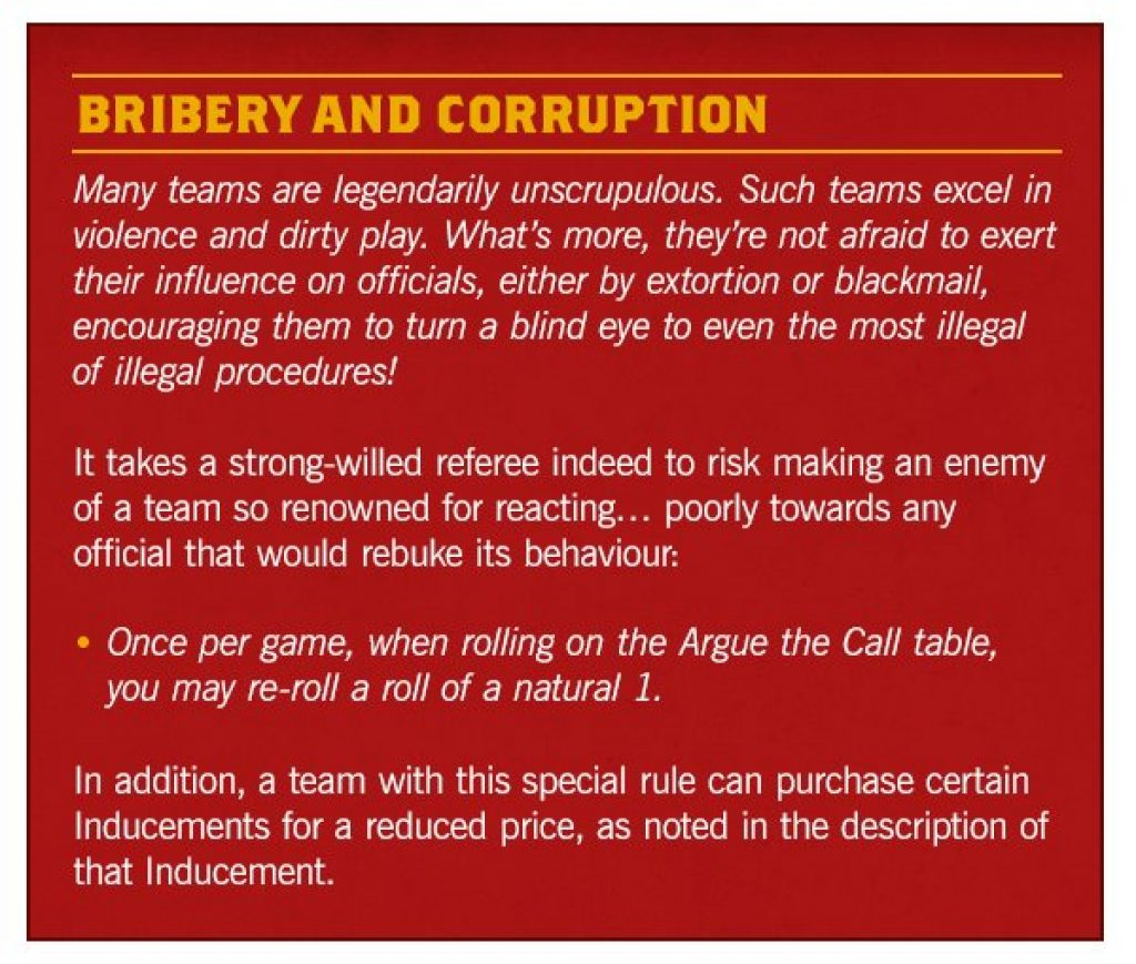 Bribery and Corruption Rules Blood bowl