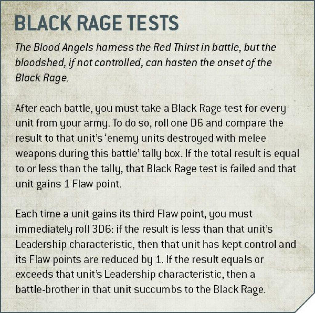 Codex Blood Angels V9 Black Rage tests Rule