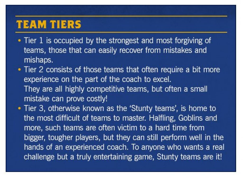 Tiers blood bowl explanation