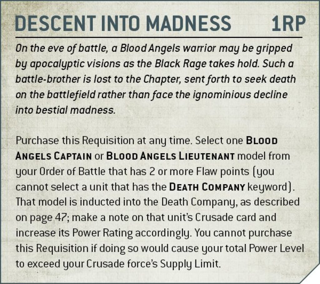 Codex Blood Angels V9Descent into madness rule