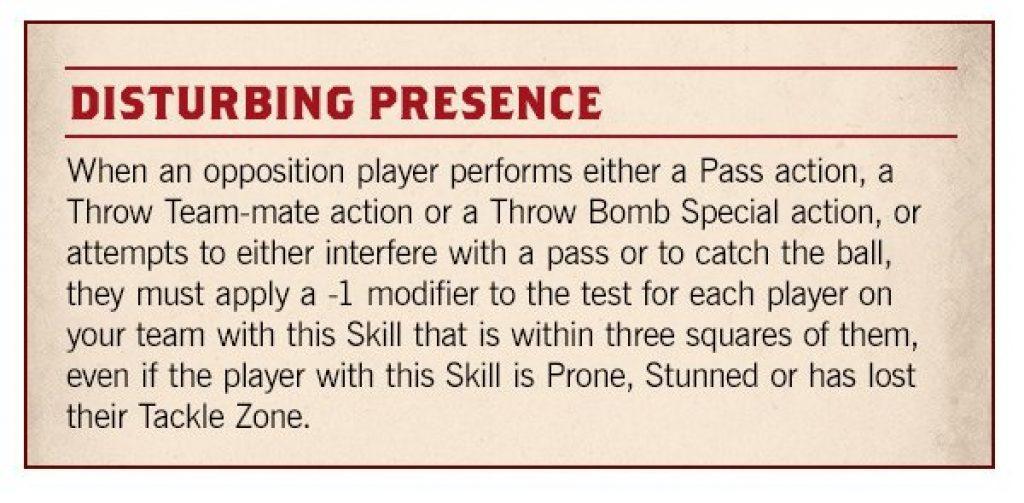 Blood Bowl Season 2 disturbing presence rule