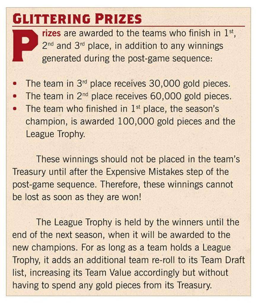 Blood Bowl Season 2 leauge prizes rule