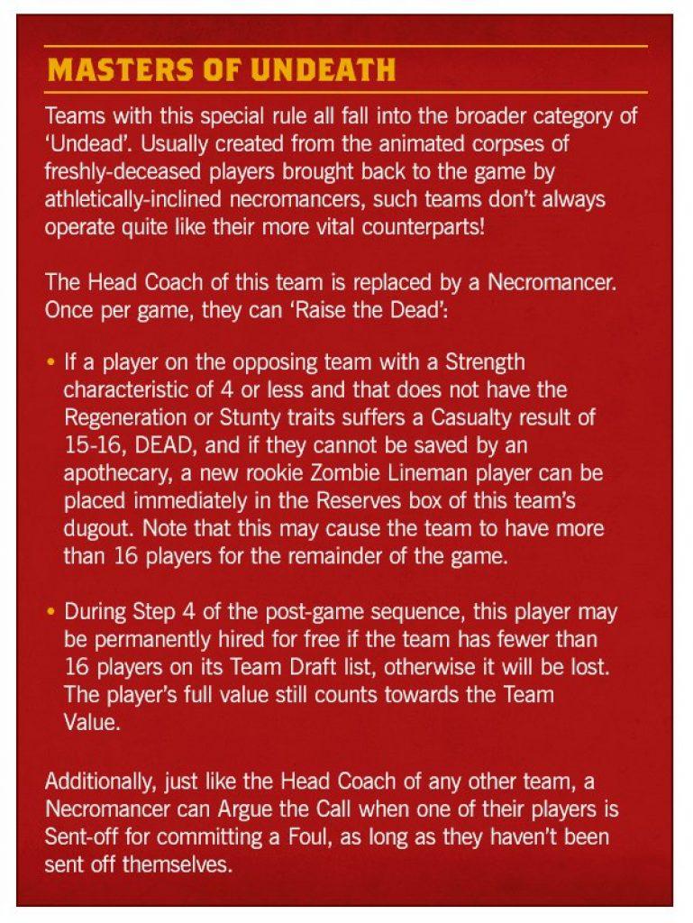 Undead rules blood bowl season 2