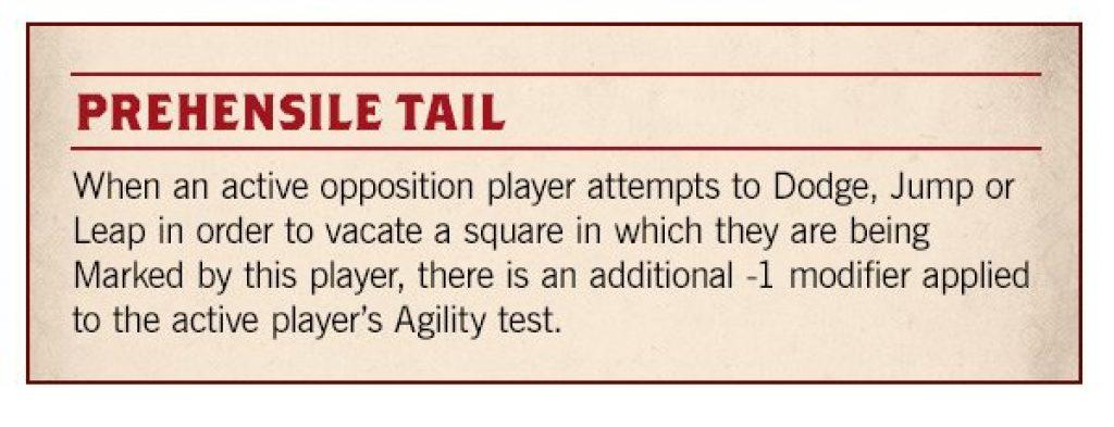 Blood Bowl Season 2 prehensil tail rule