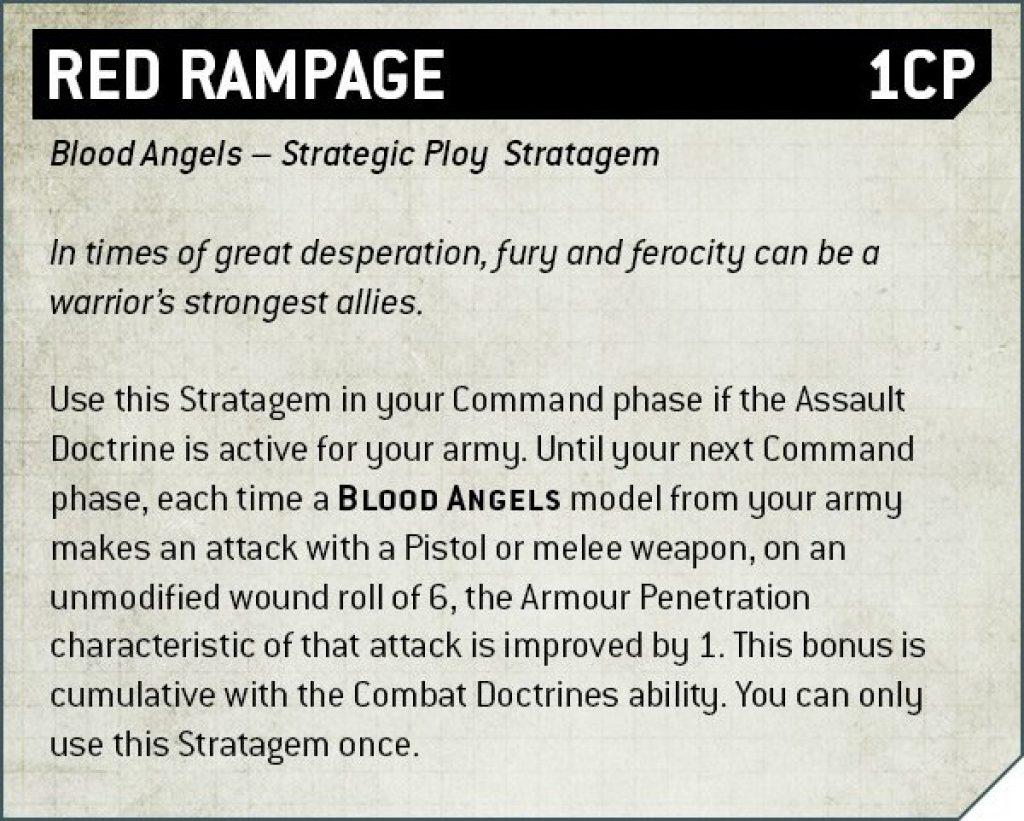 Codex Blood Angels V9 red Rampage Rule