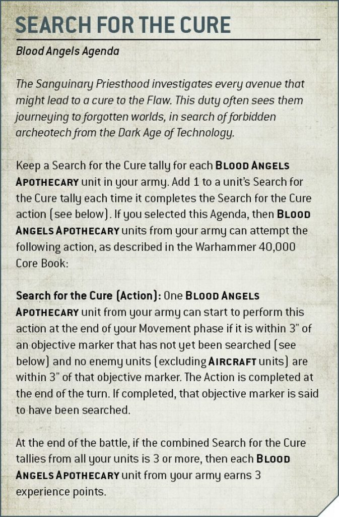 Codex Blood Angels V9 Search for the cure rule