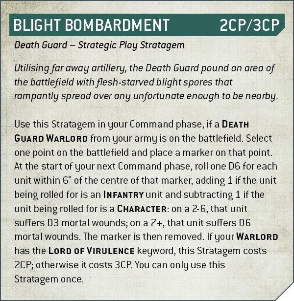 Warhammer 40k V9 Death Guard Rule Blight Bombardment