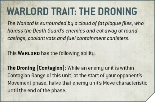 Codex Death Guard Rule Warlord Trait the Droning
